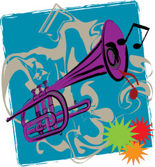 Jazz impression of funky trumpet -- vector