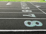track lanes of a high school for the sport of track and field poster