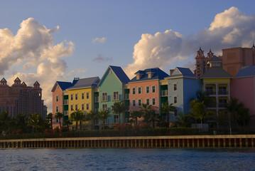 Colored houses at Paradise Island, Bahamas