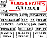 Collection of rubber stamps begining with letter GHIMNO. poster