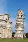 falling Pisa bell tower and cathedral fragment
