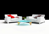 Modern furniture on a white background 3d image poster