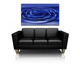3D render of a modern sofa with canvas art of water ripples poster