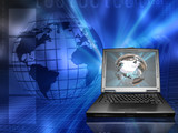 Conceptual image depicting global business poster
