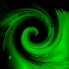 :  Green spiral, abstract background