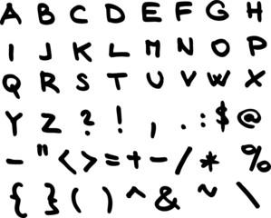 Hand draw alphabet font