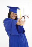 A female caucasian in navy blue graduation gown poster