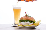 low-calorie filling with shrimps delicious sandwich and beer poster