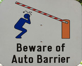 beware of auto barrier poster