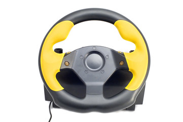 series object on white steering wheel