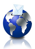 3d globe with email envelope poster
