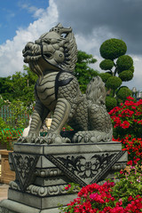 The statue of stone ancient Chinese dragon