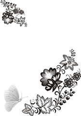 illustration with butterfly and flowers on white background