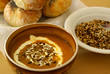 Butternut soup, sunflower seed and rolls