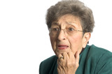 senior woman shocked and surprised expression on face poster