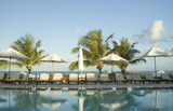 swimming pool at luxury resort  bahamas poster