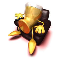 Bière regarde la télévision
