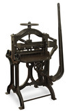 Vintage cast iron printing press, on white poster