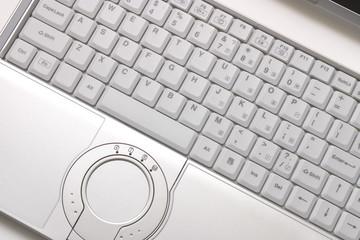 Keyboard of silvery hi-end  laptop