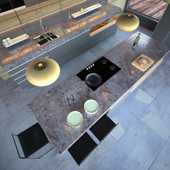 Luxury modern open-plan designer kitchen