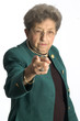 serious senior female executive pointing finger