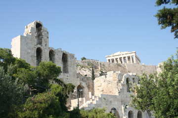 parthenon and herodion athens greece