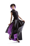 Beautiful Asian fashion model in purple lined skirt poster
