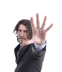 business man making stop. Focus on the hand
