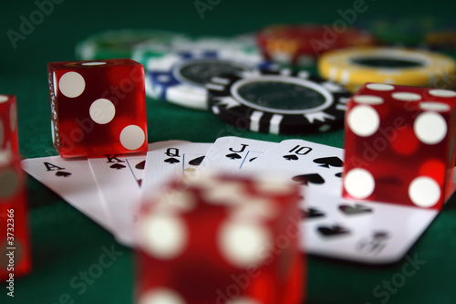 playing cards, poker chips and dice - 3732366