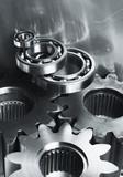gear mechanism in satin blue metallic poster