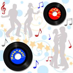 Retro 45 RPM records, disco or record hop background.