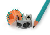 macro of sharpener and pencil tip against white background poster
