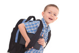 5 years old boy ready to school isolated on white poster