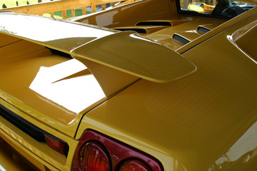 yellow supercar rear spoiler