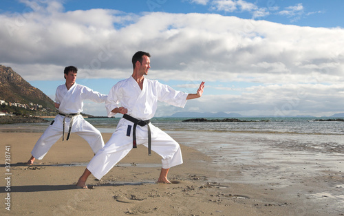 Young adult men with black belt practicing a Kata on the beach