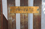 """Copper plate sign with the word """"private"""" engraved and inked  poster"""
