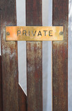 """Copper plate sign with the word """"private"""" engraved  poster"""