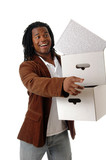A young man carrying boxes  poster
