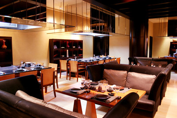 Interiors of japanese restaurant