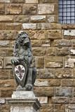 Sculpture of lion near Palazzo Vecchio poster