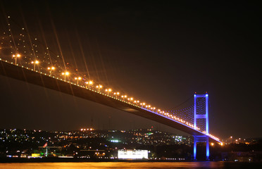 The Bosphorus Bridge that connects Europe and Asia.