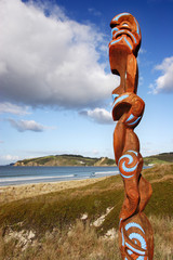 Maori carving overlooking Omaha beach