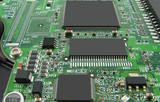 Microcircuit board with three processors. poster