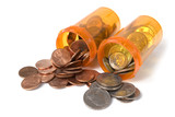 Pill bottles spilling out money quarters, dimes and pennies poster