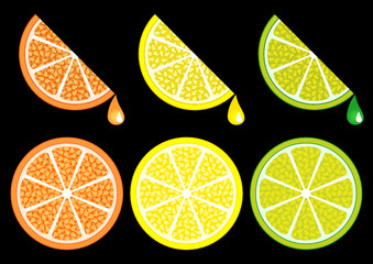 Orange lemon and lime slices over black background