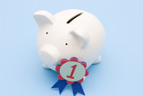 Piggy bank with a number one award symbol poster