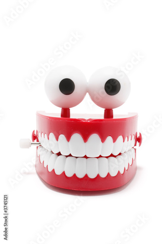 Chattering Teeth on White Background