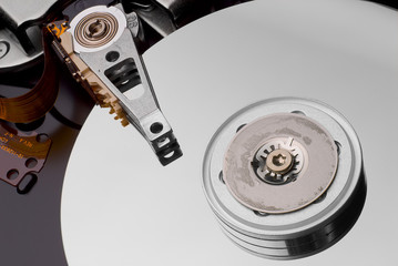 inside of a modern hard disc drive close up