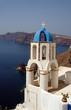 santorini greek church bell tower over sea oia caldera cliffs