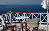 greek island patio with incredible view santorini greece poster